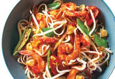 Sweet & Spicy Shrimp With Rice Noodles