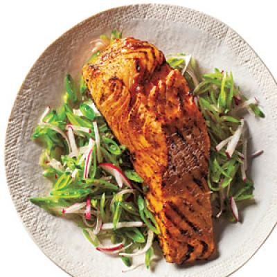 Barbeque Salmon And Snap Pea Slaw