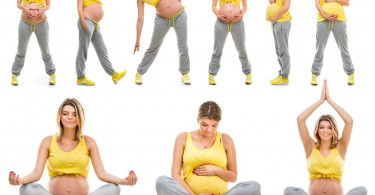 beautiful happy young pregnant woman engaged in fitness. Isolate