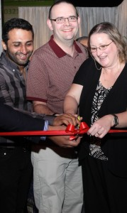 Offical ribbon cutting with Owner of Second Cup Gulberg, Ahsan Raza, & Allison Stewart