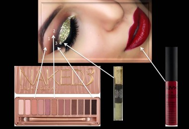 smokey gold eyes with red lips